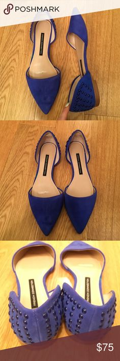 NEW French connection blue suede flats size 7 NEW French connection blue suede flats with blue stud detail on heels. Size 7. French Connection Shoes Flats & Loafers