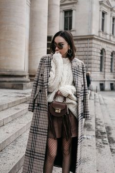 BFW: Cable Knit Sweater With Checked Coat • The Fashion Cuisine