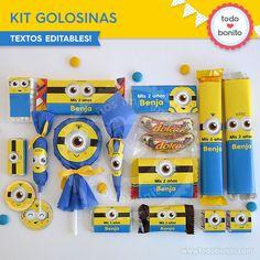 Minions: kit etiquetas de golosinas - Todo Bonito