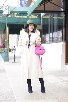 Petite fashion winter street style + cream fur coat + olive hat+ black faux leather pencil skirt+ pink bag