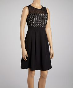 Take a look at this Black Tile Panel Sleeveless Dress by Julia Jordan on #zulily today! Just a cute little black dress.
