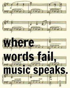 Where Words Fail Music Speaks, Hans Christian Andersen Quote, Sheet Music Art Print