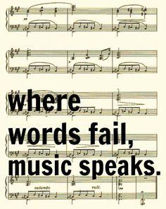 Where Words Fail Music Speaks, Hans Christian Andersen Quote, Sheet Music Art Print