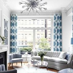House Beautiful - living rooms - grey & blue