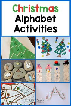 Your kids will love these fun & easy Christmas & holiday alphabet and literacy activities! These early learning ideas are great for your preschool or pre-k classroom, or at home. There are also Christmas sensory and math activities, Christmas science experiments, Christmas crafts for kids, and more! Also, don't miss the free Christmas preschool printables.