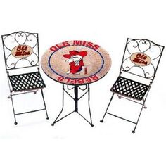 Mississippi Ole Miss Rebels Bistro Table and 2 Chairs - OMG I WANT THIS!!