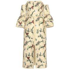 Erdem Sissy Off-the-Shoulder Embroidered Dress (163 915 UAH) ❤ liked on Polyvore featuring dresses, erdem, beige, off shoulder dress, erdem dress, off the shoulder dress, multi-color dress and multi colored dress