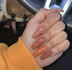 autumn nails You deserve the most fabulous nails this season! Checkout some of these AMAZING nail designs to give you the type of Fall nail inspiration you absolutely NEED Aycrlic Nails, Dope Nails, Fun Nails, Pretty Nails, Glitter Nails, October Nails, Fall Acrylic Nails, Orange Acrylic Nails, Fall Nail Art Designs