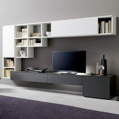 Living room tv wall unit design living room wall unit for wall cabinet char Wall Mount Tv Shelf, Wall Mounted Tv Unit, Wall Mount Tv Stand, Wall Mounted Shelves, Wall Tv, Shelf Wall, Wall Units For Tv, Hanging Shelves, Wall Unit Designs
