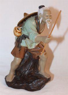 Chinese Shiwan Mud Man Ceramic Fisherman Figurine Figure with Pole China Marked | eBay