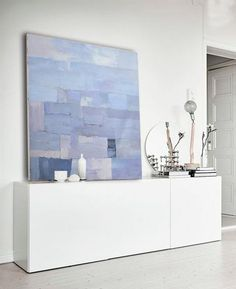 Contemporary painting on canvas  #XB65A large abstract painting, blue violet, navy, by CZ Art Design #CelineZiangArt
