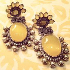 Loving yellow right now! $30 #YELLOW #silver #summer #earrings #banglezjewelry #gorgeous #accessories #bigearrings #bridal #iheartjewelry #polki #bollywood #wedding #2014 #banglez #Indian #bridaljewelry #southasian #costumejewelry #indianjewelry #pakastanijewelry #weddingjewelry #partyjewelry