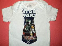 Star Wars  Baby Onesie With Boba Fett Tie, Made to Order in Size 0 to 24Mo. Infant Tie Onesie, Toddler Tie Onesie. $12.00, via Etsy.