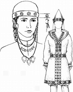 Female wear reconstructions from grave finds at Várpalota and Orosháza by Ágota Perémi and István Dienes (from a 1993 publication).