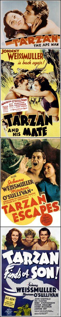 Johnny Weissmuller & Maureen O'Sullivan in Tarzan the Ape Man (1932), Tarzan and his Mate (1934), Tarzan Escapes (1936), Tarzan Finds a Son! (1939)