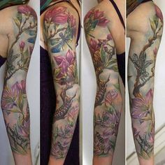 Epic Floral Sleeve Tattoo