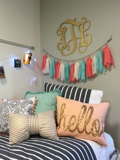 Preppy dorm room · girls bedroom · gold bedding · kate spade little style session from sfasu this weekend! Monogram Bedroom, Monogram Dorm, Monogram Pillows, Dorm Pillows, Dorm Room Bedding, Throw Pillows, My New Room, My Room, Girl Room