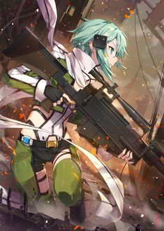 Sword Art Online, Online Art, Sinon Sao, Kirito, Asada Shino, Accel World, Anime Weapons, Another Anime, Warrior Girl