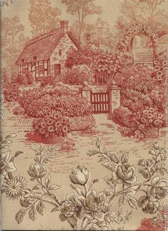 Kent Garden Red/Brown/Cream Toile Garden Fabric for Custom Window Treatments or Fabric by the Yard : BestWindowTreatments.com