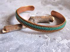 Pulseras de latón y cobre con tejido miyuki - copper bracelet knitted with miyuki