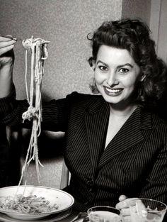 Sophia Loren having pasta, 1953.