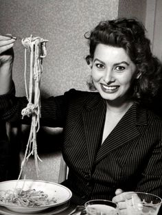 Sophia Loren having pasta, 1953.