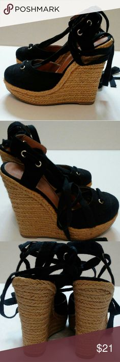 "NWOT Black Lace Up Espadrille Wedges Size 6 Brand new they have never been tried on. Super Cute!!!! 5 1/2"" Heel Shoes Espadrilles"