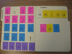 """Spelling Pin 2. Using a file folder and post it notes, categorize the alphabet into """"consonants"""" and """"vowels."""" This activity is simple and cheap enough to make one for each student in the class. To practice spelling words, verbally deliver a word to the students. When everyone has spelled the words in the open space, ask them to hold up their answers so you can make sure everyone spelled the word correctly."""