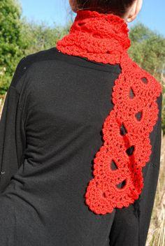 Crochet Scarf Red Crochet Scarf Crochet Lace by aboutCRAFTS