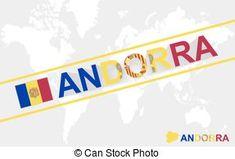 Andorra, mapa, bandera, Ilustración, texto