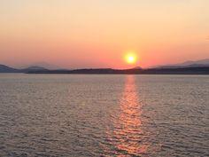 Sunset in Greece, between Aegina and Piraeus