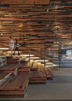 March Studio Adds Thousands Of Timber Planks To Staircase Of Canberra's Hotel Hotel   2014 Interior Ideas