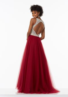 A-Line Prom Dress Featuring a Fully Beaded Bodice and Soft Net Skirt. Open Keyhole Back. Colors Available: Grape, Bordeaux, Majestic Royal