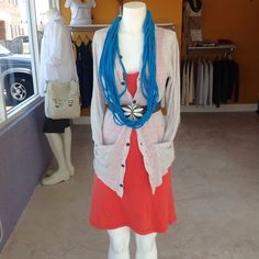 Coral Jun E tank dress layered underneath a grey striped Jun E disheveled linen cardigan and belted with a grey & cream vintage flower belt. Up cycled t-shirt scarf by CLAMORED in turquoise adds an additional splash of color