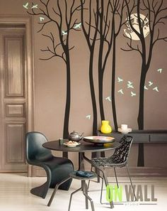 Full Moon - Living room vinyl wall tree decal sticker, birds mural - - Wände - Pictures on Wall ideas Living Room Vinyl, Living Rooms, Apartment Living, Tree Decals, Tree Wall Murals, Mural Art, White Walls, Wall Stickers, Wall Decal