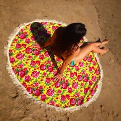 Ateliê Juju - Canga redonda casal Flores Amarelas  #surf #amor #feitonobrasil…