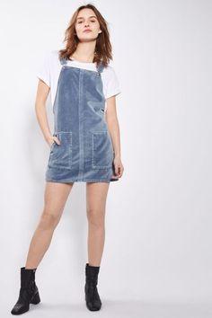 MOTO Blue Velvet Pinafore Dress