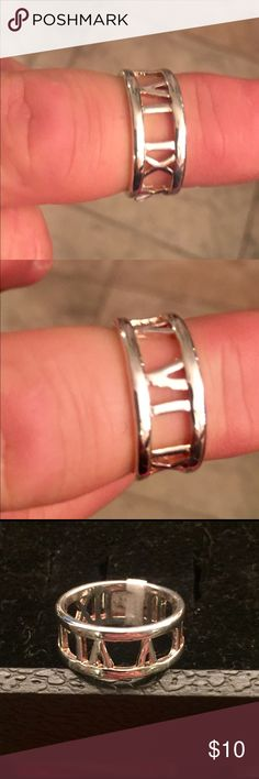 (Closing closet) beautiful 925 party ring Sterling silver ring with some kind of numeric numbers I believe. Not sure what it means but very college look. Jewelry Rings