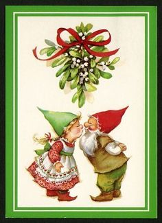 Gnomes under the mistletoe. Swedish Christmas, Christmas Gnome, Scandinavian Christmas, Christmas Holidays, Christmas Crafts, Illustration Noel, Christmas Illustration, Illustrations, Vintage Greeting Cards