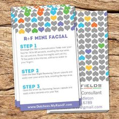 These mini facial instruction cards will fit perfectly in any sample pack. Perfect gift for new Rodan and Fields consultants. A personal favorite from my Etsy shop https://www.etsy.com/listing/271119568/rf-mini-facial-instructions-card-biz: