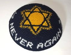 kippah black with star of David and 'Never again' in