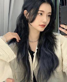 Asian Hair Dyed, Korean Hair Dye, Korean Hair Color, Long Asian Hair, Black Hair Korean, Under Hair Dye, Under Hair Color, Hair Color Underneath, Highlights Underneath Hair