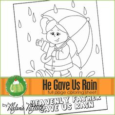 He Gave Us Rain Printable Coloring Page