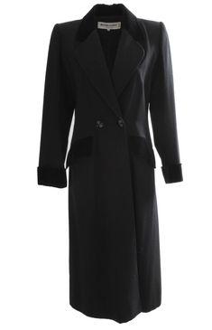 028f5e6915e 70s Yves Saint Laurent Long Black Coat Fitted YSL Rive Gauche Wool  Gabardine 40 #YvesSaintLaurent