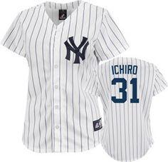 Ichiro Suzuki Jersey: Women's Majestic Home White Pinstripe New York Yankees Jersey $79.99 http://www.fansedge.com/Ichiro-Suzuki-Jersey-Womens-Majestic-Home-White-Pinstripe-New-York-Yankees-Jersey-_-523062065_PD.html?social=pinterest_pfid66-60168