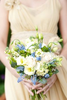 Blue Muscari, white Lisianthus, Blush Roses English garden wedding bouquet
