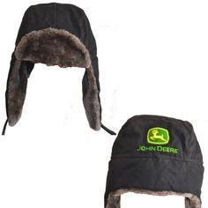 """John Deere """"Deere Logo"""" Black Youth Trapper Style Hat Cap S/M(4-8) L/XL(10-14) #JohnDeere #TrapperHat"""