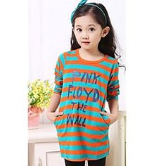 Girl's Round Collar Stripe Letter Print Long Sleeve T-shirts
