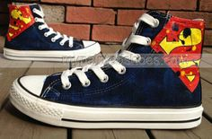 2013 New Birthday Superman Hand Painted Shoes High-top Painted C,High-top Painted Canvas Shoes