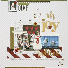 #papercraft #scrapbook #layout. Meeting Olaf **Simple Stories DT** - Scrapbook.com - Made with Cozy Christmas collection by Simple Stories.